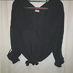 Brandy Melville Black buttoned blouse sz os